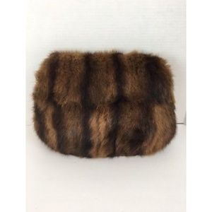 Vintage Mink Womens Purse Brown Furr Muff Clutch